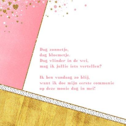 Communie fotokaart hip en lief met hartjes sterren bloemen 2