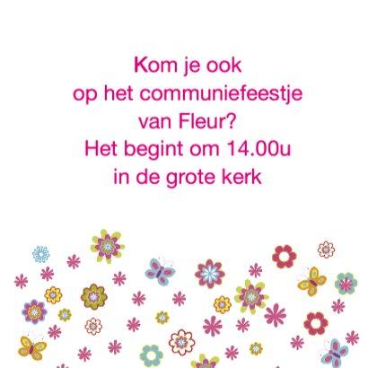 communie uitnodiging bloemen 3