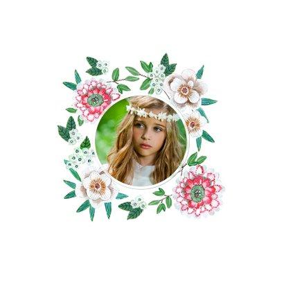 Communie uitnodiging botanische bloemen krans 2