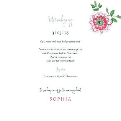 Communie uitnodiging botanische bloemen krans 3