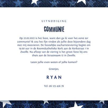 Communie uitnodiging denim stoer met sterren 3