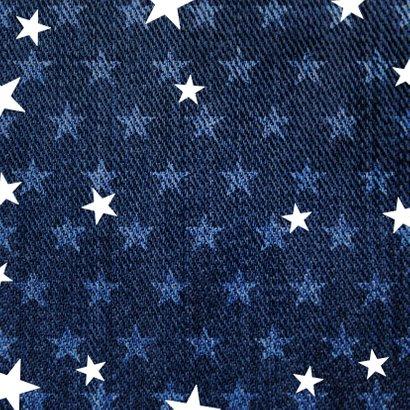 Communie uitnodiging denim stoer met sterren Achterkant