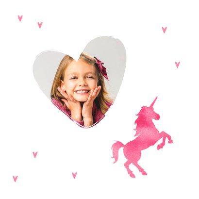 Communie uitnodiging eenhoorn meisje stijlvol hartjes 2