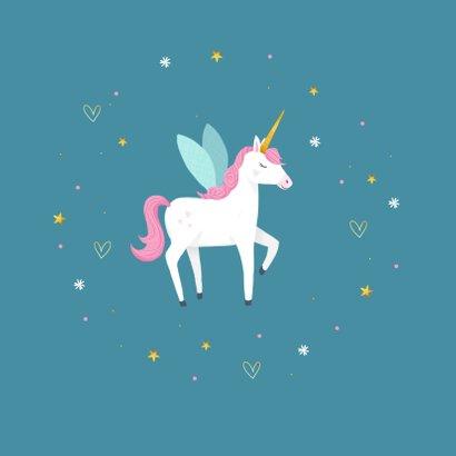 Communie uitnodiging eenhoorn unicorn goud blauw 2