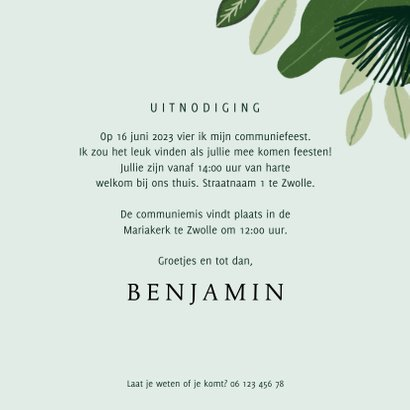 Communie uitnodiging hip met jungle planten en aapjes 3