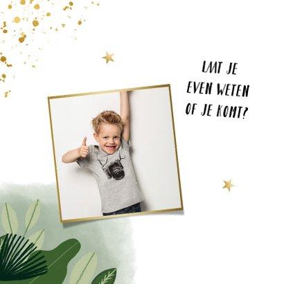 Communie uitnodiging hip met planten, foto en goudlook 2
