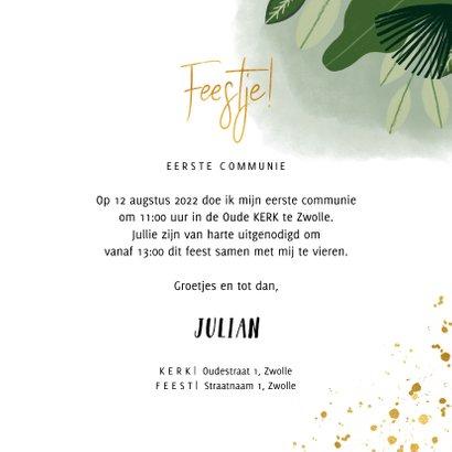 Communie uitnodiging hip met planten, foto en goudlook 3