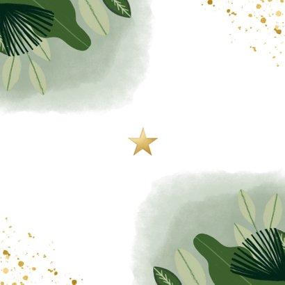 Communie uitnodiging hip met planten, foto en goudlook Achterkant