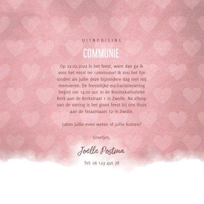 Communie uitnodiging hip waterverf roze met hartjes 3