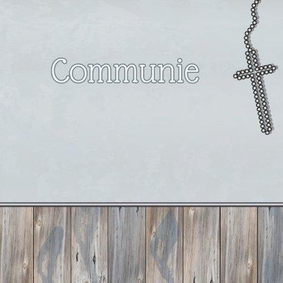 communie uitnodiging HOUT ster 4 3