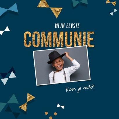 Communie uitnodiging jongen confetti strikjes goud 2