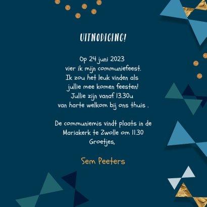 Communie uitnodiging jongen confetti strikjes goud 3