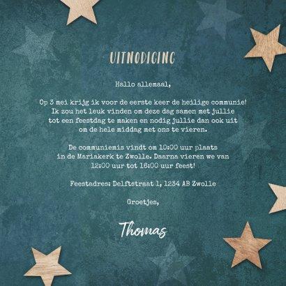 Communie uitnodiging jongen stoer houten sterren label 3