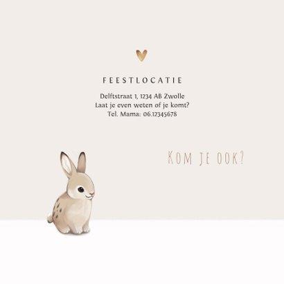 Communie uitnodiging konijn hartjes en foto 2