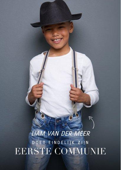 Communie uitnodiging magazine met foto en teksten jongen 2