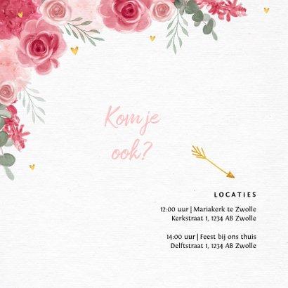 Communie uitnodiging meisje bloemen hartjes goud 2