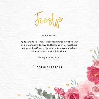 Communie uitnodiging meisje bloemen hartjes goud 3