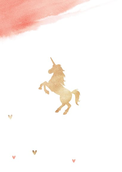 Communie uitnodiging meisje waterverf unicorn eenhoorn 2