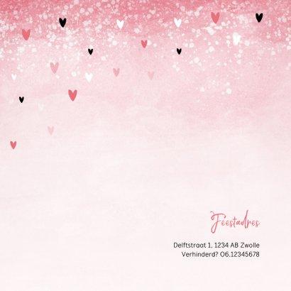 Communie uitnodiging roze zwarte hartjes meisje 2