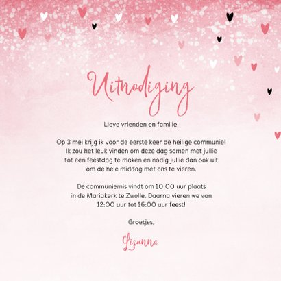 Communie uitnodiging roze zwarte hartjes meisje 3