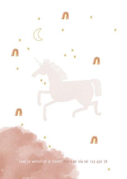Communie uitnodiging stijlvol met unicorn en regenboog 2