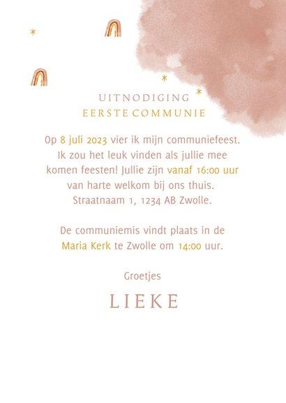 Communie uitnodiging stijlvol met unicorn en regenboog 3