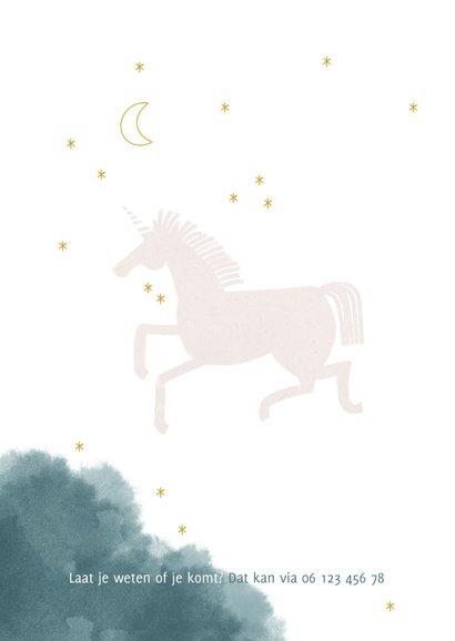 Communie uitnodiging stijlvol met unicorn maan en waterverf 2