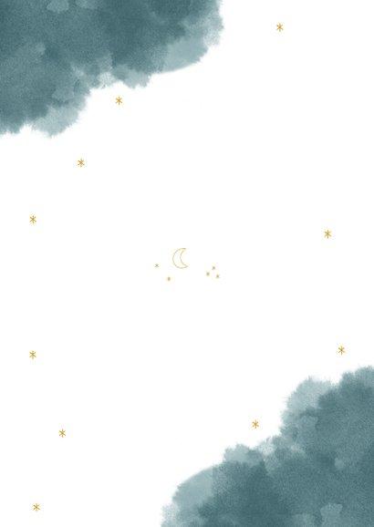 Communie uitnodiging stijlvol met unicorn maan en waterverf Achterkant