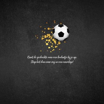 Communie uitnodiging stoer goud krijtbord voetbal foto 2