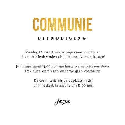 Communie uitnodiging stoer goud krijtbord voetbal foto 3