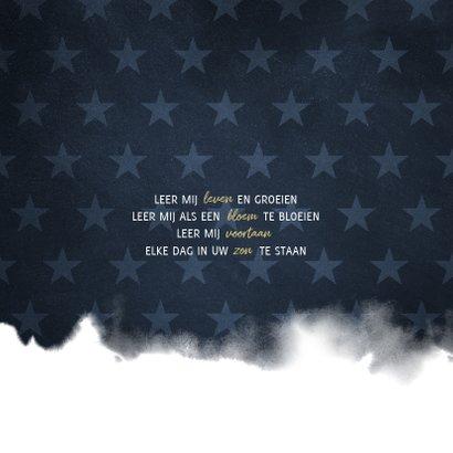 Communie uitnodiging stoer waterverf blauw met sterren 2
