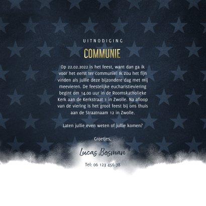 Communie uitnodiging stoer waterverf blauw met sterren 3