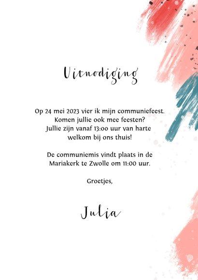 Communie uitnodiging verf spetters foto 3