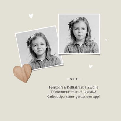 Communiefeest meisje uitnodiging fotokaart houten hartjes 2