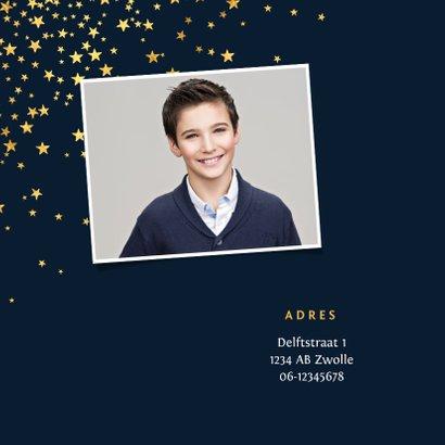 Communiefeest uitnodiging jongen stijlvol goud sterren 2