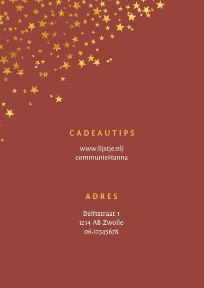 Communiefeest uitnodiging meisje stijlvol goud sterren 2