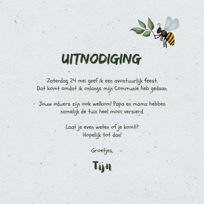 Communiefeest uitnodiging wegwijzers tuinfeest insecten 3
