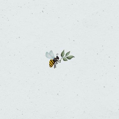 Communiefeest uitnodiging wegwijzers tuinfeest insecten Achterkant