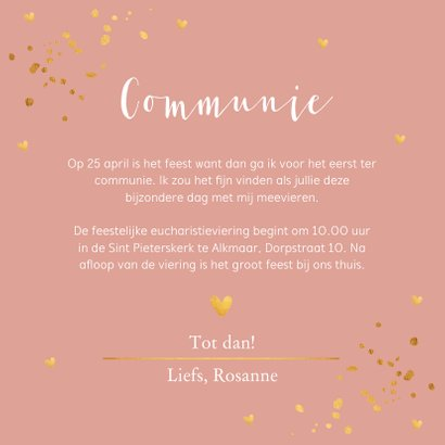 Communiekaart oudroze confetti goudlook 3
