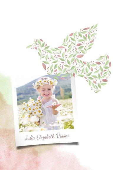 Communiekaart duif van bloemen met foto en waterverf 2