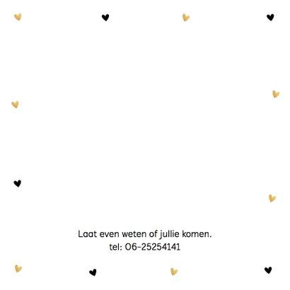Communiekaart fotocollage gouden hartjes 2