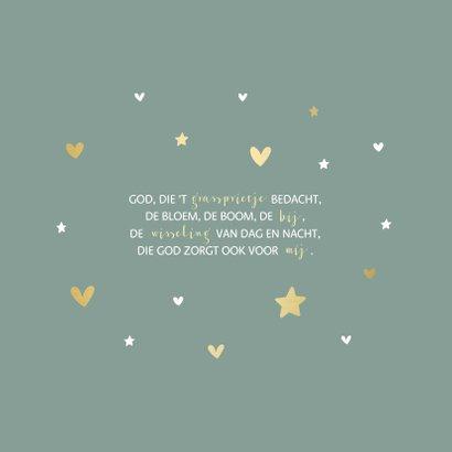 Communiekaart gouden hartjes en sterren aanpasbaar 2