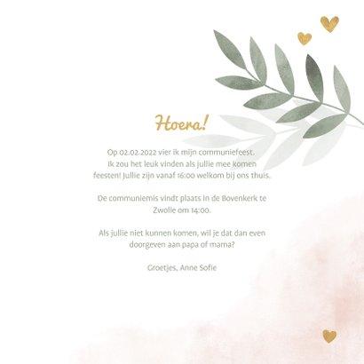 Communiekaart gouden hartjes roze waterverf takjes 3