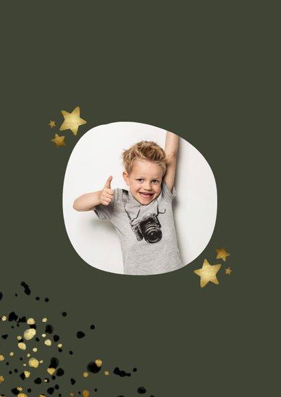 Communiekaart groen met foto, gouden sterren en spetters 2