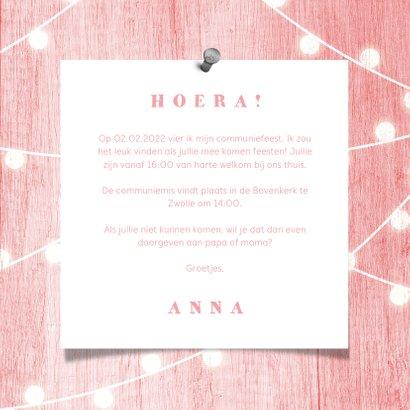 Communiekaart houtlook roze lampjes met foto 3