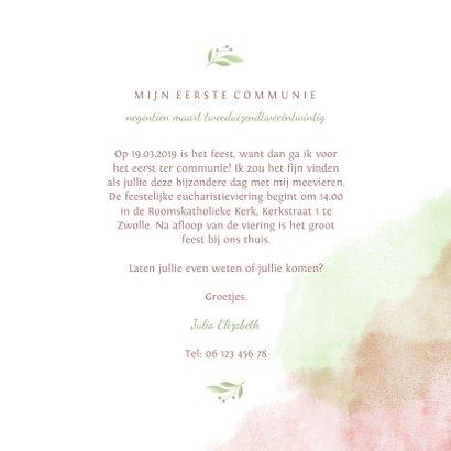 Communiekaart met duif van bloemen en waterverf 3