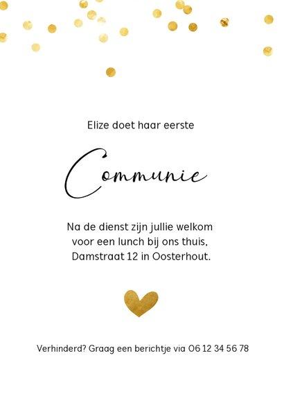 Communiekaart met gouden confetti stippen en eigen foto 3