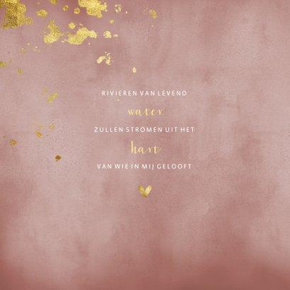 Communiekaart oud roze waterverf gouden spetters 2