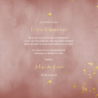 Communiekaart oud roze waterverf gouden spetters 3