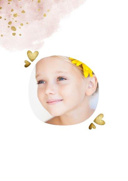 Communiekaart roze met foto, gouden hartjes en waterverf 2